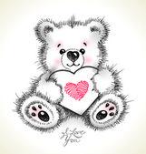 Hand getekend harige teddy beer met een hart in poten. — Stockvector