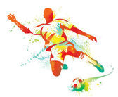 Soccer player kicks the ball. Vector illustration. — ストックベクタ