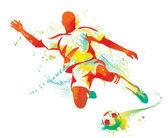 Voetbalspeler schoppen de bal. vectorillustratie. — Stockvector