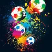 The colorful footballs on a black background — Stock Vector