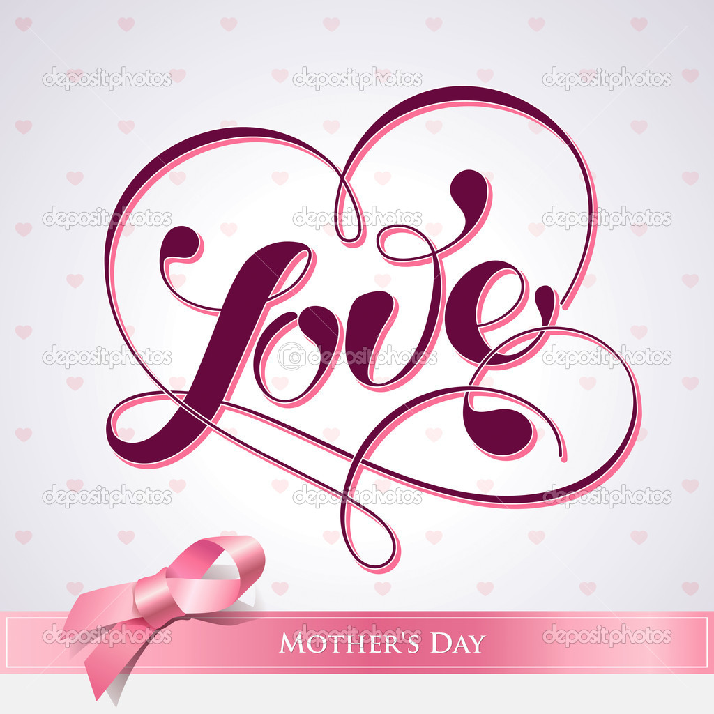 Lettering LOVE. For themes like Mother's Day, Valentine's Day, holidays. Vector illustration. — Stock Vector #8896295