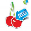 Icon cherry with an arrow by organic food — Stock Vector