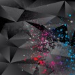 Abstract background with black triangles and color sprays — Vettoriale Stock #8918501
