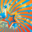 Abstract background with stars and orange waves — Stok Vektör