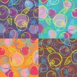 Four colorful patterns from apples on violet, blue, brown and or — Stok Vektör
