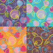 Four colorful patterns from apples on violet, blue, brown and or — Image vectorielle