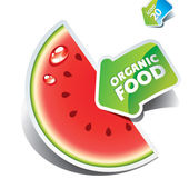 Icon watermelon slice with the arrow by organic food. — Stock Vector