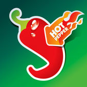 Ikone der rote scharfe paprika mit brennenden pfeil — Stockvektor