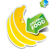 Icon bananas with an arrow by organic food — Stock Vector