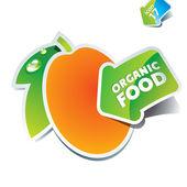 Ikona meruňkové s šipkou o biopotravinách. — Stock vektor