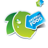 Icon lime with the arrow by organic food. — Stock Vector