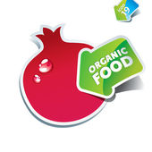 Icon pomegranate with the arrow by organic food. — Stock Vector