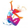 The dancing girl with colorful spots and splashes on white backg — Stock Vector