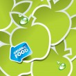 Background from green apples with an arrow by organic food — Imagen vectorial