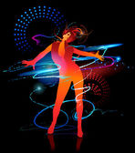 Dancing girl with shining splashes on a black background. Vector — Stockvector