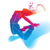 The dancer. Colorful silhouette with lines and sprays on abstrac — Vecteur