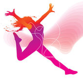 The dancer. Colorful silhouette with lines and sprays on abstrac — Stock Vector