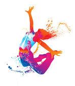 Het dansende meisje met kleurrijke vlekken en spatten op witte backg — Stockvector