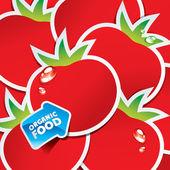 Fondo de tomates con una flecha por alimentos orgánicos — Vector de stock