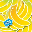 Background from bananas with an arrow by organic food - Stock Vector