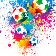 The colorful footballs on a white background — Stock Vector