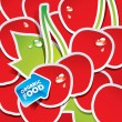 Vector de stock : Background from cherries with arrow by organic food