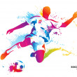 Vector de stock : Soccer player kicks ball. colorful vector illustration w