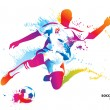 Soccer player kicks the ball. The colorful vector illustration w — Stockvectorbeeld