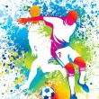 Vector de stock : Football players with soccer ball