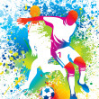 Football players with soccer ball — стоковый вектор #9268845