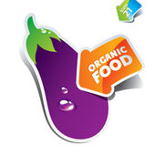 Icon eggplant with an arrow by organic food. Vector illustration — Stock Vector