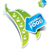 Icon peas with an arrow by organic food. Vector illustration — Stock Vector