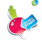 Icon radish with arrow by organic food. Vector illustration. — Stock Vector