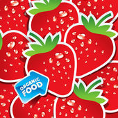 Background from strawberries with an arrow by organic food. — Stock Vector