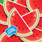 Background from watermelon slices with an arrow by organic food. — Stock Vector