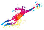 The football goalkeeper catches the ball — Stockvector