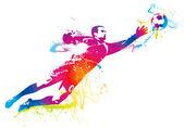 サッカーのゴールキーパーがボールをキャッチします。 — ストックベクタ