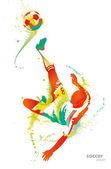 Fotbollsspelare sparkar bollen — Stockvektor