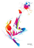 игрок soccer ногами мяч — Cтоковый вектор