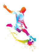 Soccer player kicks the ball. Vector illustration. — Vettoriale Stock