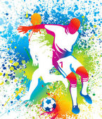 Football players with a soccer ball — Vector de stock