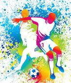 Fotbollsspelare med en fotboll — Stockvektor