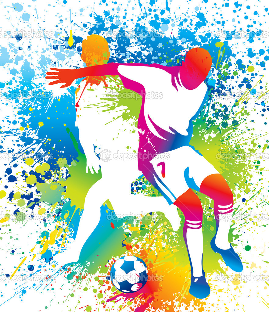 Football players with a soccer ball. Vector illustration. — Stock Vector #9268845