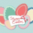 Vector de stock : Vintage Easter card with lacy paper eggs and inscription. Vector