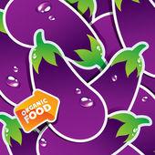 Fond d'aubergines avec une flèche de l'alimentation biologique. — Vecteur
