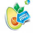 Stock Vector: Icon avocado with arrow by organic food. Vector illustration