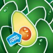 Vector de stock : Background from avocado with arrow by organic food. Vector.