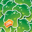 Background from broccoli with the arrow by organic food. Vector — Векторная иллюстрация