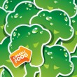 Background from broccoli with the arrow by organic food. Vector — Imagen vectorial