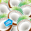 Background from coconut with the arrow by organic food. Vector. — Stock Vector